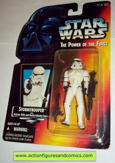 star wars action figures STORMTROOPER Red card power of the force no holo 1997 hasbro toys moc mip mib