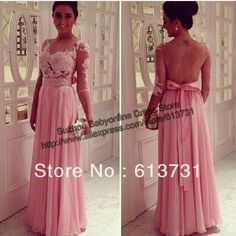 Sweetheart Sheer Lace Top Pink Crystal Beaded A-Line Floor-Length Chiffon Long Sleeves Prom Dress Evening Dresses 2014 $139.00