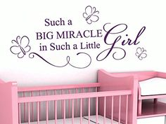 Wall Decals Quote Such A Big Miracle Butterfly Decal Vinyl Sticker Girl Nursery Baby Room Home Decor Art Murals Ms704 * Want to know more, click on the image.