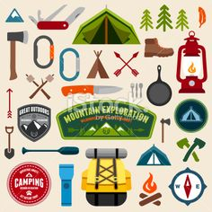Camping symbols Royalty Free Stock Vector Art Illustration