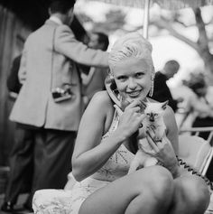 Actress Jayne Mansfield Talking on the Phone and Holding a Kitten