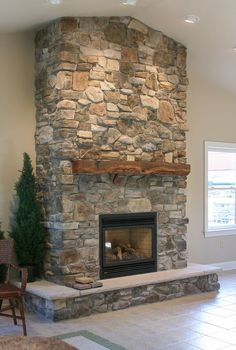Eldorado Stone - Hillstone - Verona More - Fireplace Today Cottage Fireplace, Farmhouse Fireplace, Home Fireplace, Fireplace Remodel, Living Room With Fireplace, Rustic Farmhouse, Fireplace Ideas, Fireplace Stone, Stone Fireplace Makeover