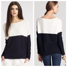 Vince oversized sweaters ♥️ Ivory navy blue color block oversized style sweater Dolan sleeve so comfy in cotton fabric in great condition  Vince Sweaters