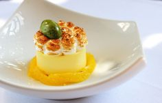 Lemon meringue pie with poached oranges and basil by Matthew Tomkinson