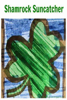 Shamrock suncatcher. Easy to create tissue paper suncatcher for St.Patrick's day