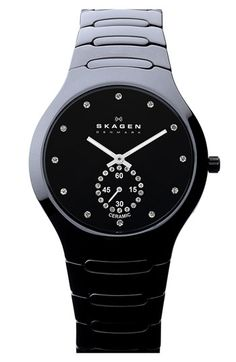 Time for a new Skagen Honey!    Skagen Crystal Detail Ceramic Bracelet Watch available at #Nordstrom
