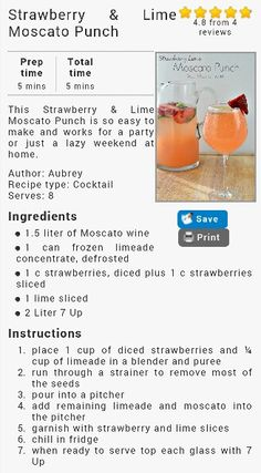 Strawberry & Lime Moscato Punch. Looks tasty.
