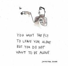 Você quer que a mosca deixe você sozinho, mas você não quer ser sozinho.