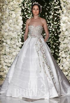 Brides.com: . Strapless silk taffeta ballgown wedding dress with a sweetheart neckline, Reem Acra