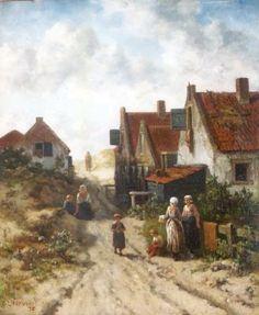 Oude dorp Scheveningen - Salomon Leonardus Verveer