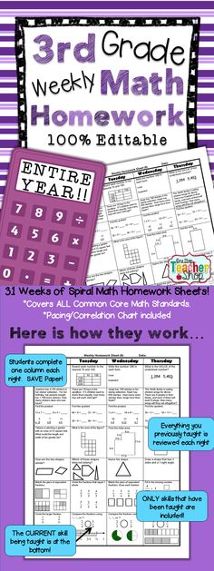THIRD GRADE Spiral Math Homework, Morning Work, or Math Centers for the ENTIRE YEAR!! -- 100% EDITABLE -- Aligned with the 3rd Grade Common Core Math Standards. ANSWER KEYS included $