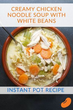 This instant pot creamy chicken noodle soup stretches leftover chicken into a delicious soup with white beans added for creaminess and a pack of protein Pre Cooked Chicken, Creamy Chicken, How To Cook Chicken, Bean Recipes, Soup Recipes, Chicken Recipes, Hamburger Recipes, Noodle Recipes, Easy Healthy Recipes