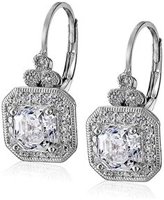 PlatinumPlated Sterling Silver Swarovski Zirconia AsscherCut Antique Drop Earrings -- Visit the image link more details.(This is an Amazon affiliate link and I receive a commission for the sales)