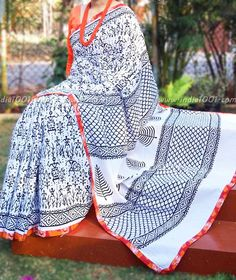 Beautiful Block Printed Mul Cotton Saree with Stitched borders