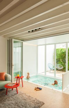 House LKS by P8 architecten | courtyard swimming pool