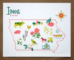 Iowa: We Got Heart! by Paper Parasol from domestica: The prettiest Iowa print - inspired by vintage tea towels, souvenir plates, and road trips. Features the state bird, the Field of Dreams, the state flower, and the American Gothic house among other Iowa icons : ) #Print #Letterpress #Iowa