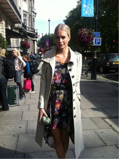 Summer dress + trench x ankle boots and bare legs = transitional cool by @poppydelevigne #LFW