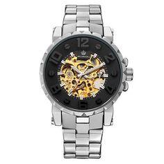 Skeleton Steel Band Automatic Wristwatch