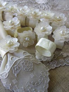 Wedding Brunch Napkin Ring Set of 12 Vintage Ivory Shell Table Top Holiday Decor Some chips in delicate petals which may be covered with napkins reflected in price and shown in pictures. not this exactly, but play on this idea? Brunch Table Setting, Table Settings, Wedding Napkins, Wedding Table, Decor Crafts, Diy And Crafts, Bridal Luncheon, Napkin Folding, Brunch Wedding