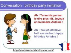 French Lesson 77 - Inviting a friend to a birthday party - Dialogue Conversation + English subtitles