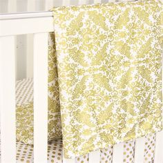Rosenberry Rooms has everything imaginable for your child's room! Share the news and get $20 Off  your purchase! (*Minimum purchase required.) Gold Damask Crib Blanket #rosenberryrooms
