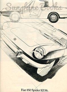 Fiat Spider Vintage Advertising Print #vintage poster #fiat #vintage cars