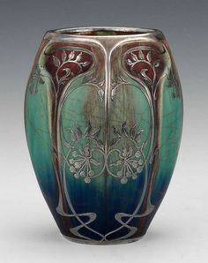 French Art Nouveau Ceramic Vase with Silver Overlay, in Manner of Alphonse Cytete   JV