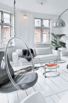 bubble chair swing in modern living room