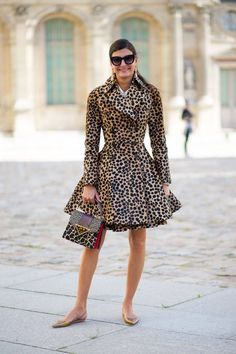 PFW - Cheetah Double Breasted Fit & Flare Coat; Paired with a Cute Leopard Prada Satchel, Sunglasses, & Gold Slingback Flats.