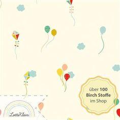Birch Fabrics Interlock Bio-Jersey mit Luftballons - Happy Town Sky aus der Kollektion Happy Town