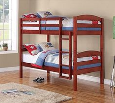 Mainstays Twin Over Twin Wood Bunk Bed Cherry >>> Click on the image for additional details.