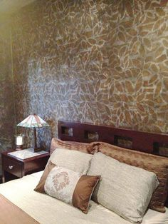 Be prepared to be WOW'd! Faux Retreat's Aspen stenciled accent is simply stunning, don't YOU think?  Make this stencil yours: http://www.cuttingedgestencils.com/allover-stencil-modern.html  #cuttingedgestencils #stencils #stenciling #wallstencils