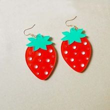 Punk Acrylic Fruit Red Strawberry Drop Earrings For Women Night Club Hip Hop Jewelry Accessories(China (Mainland))
