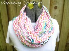 jersey knit infinity scarf rainbow chevron pink by UnendingScarves, $14.99
