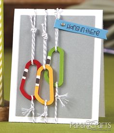 """Paper Crafts Magazine Card Creations for Him Rough & Tumble """"Hang In There"""" Rock Climbing card by Erin Lincoln."""