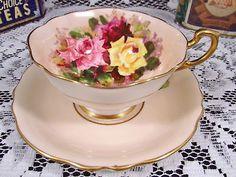ROYAL STAFFORD ELIZABETH FLORAL CHINTZ WIDE MOUTH TEA CUP AND SAUCER | Antiques, Decorative Arts, Ceramics & Porcelain | eBay!