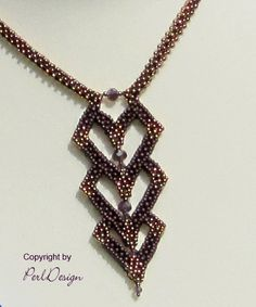 images about Freeform beading Beaded Necklace Patterns, Beaded Jewelry Designs, Seed Bead Jewelry, Bead Jewellery, Pendant Jewelry, Handmade Jewelry, Beaded Bracelets, Bronze Gold, How To Make Beads
