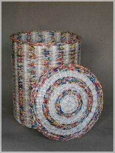 Laundry basket - made from recycled newspapers - by BluReco ♥ love