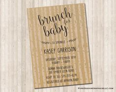 Brunch for Baby Shower invitation Rustic Woodland by PureDesignGraphics on Etsy Rustic Invitations, Digital Invitations, Baby Shower Invitations, Amazon Baby, Rsvp, Card Stock, Custom Design, Brunch, Command Centers