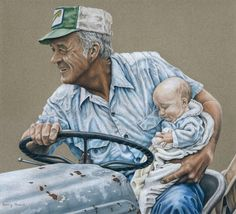 """""""Generations"""" - Colored Pencil by Barry D. Powell   I REMEMBER MARISSA RIDING ON THE TRACTOR WITH PAPPY WHEN SHE WAS VERY SMALL"""