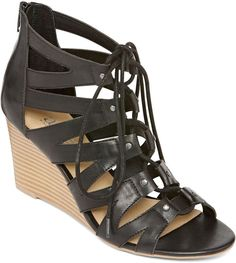 A.N.A Jadine Lace-Up Wedge Sandals