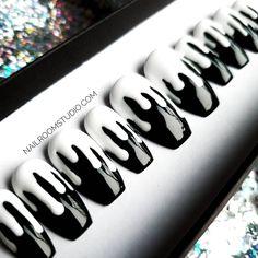 Black Acrylic Nails, Black Nails, White Nails, Drip Nails, Glue On Nails, Long Press On Nails, Color For Nails, Nail Colors, Nail Selection