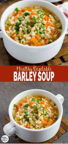 Recipes Winter Homemade Healthy Vegetable Barley Soup - A perfect easy vegetarian recipe to keep you warm during cold winter days. Ready to enjoy in about 30 mins. Vegetarian Recipes Easy, Healthy Soup Recipes, Vegan Vegetarian, Vegan Barley Soup, Barley Food, Easy Recipes, Barley Recipes, Healthy Food, Dinner Recipes