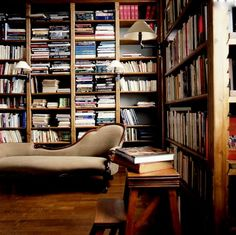 There is beauty in such a utilitarian library: books, shelves, and a place to kick back and read are all you need.