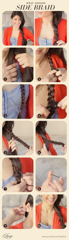 Wrap-around side braid tutorial