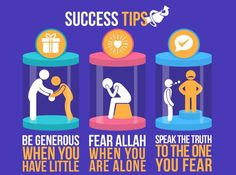 Success tips:  1. Be generous when you have little. 2. Fear Allah when you are alone. 3. Speak the truth to the one you fear.