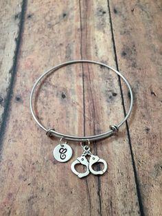 Handcuffs charm bracelet  police jewelry police by kimsjewelry