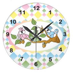 #DesignsByDonnaSiggy #Gifts Playful #Squirrel #Nursery #Theme #zazzle.com #zazzlebesties #baby #Clock