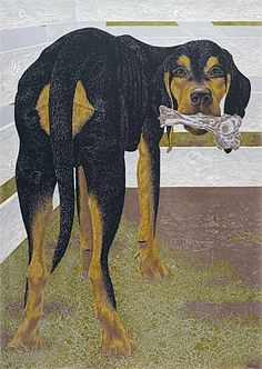 Dog with Bone, 1961 by Alex Colville on Curiator, the world's biggest collaborative art collection. Alex Colville, Canadian Painters, Canadian Artists, Tate Gallery, Magic Realism, Dog Paintings, Modern Paintings, Museum Of Modern Art, Dog Portraits