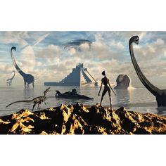 An alien world where reptoid beings co-exist with dinosaurs Canvas Art - Mark StevensonStocktrek Images (18 x 12)